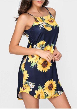 Sunflower Spaghetti Strap Mini Dress