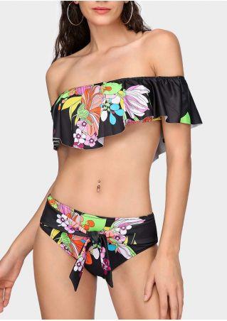Floral Flouncing Tie Off Shoulder Bikini Set