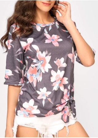 Floral Printed Tie O-Neck Blouse