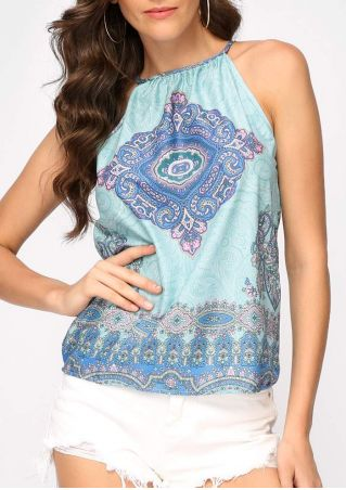 Printed Button Hollow Out Camisole