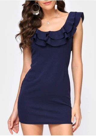 Solid Layered Flouncing Bodycon Dress without Necklace
