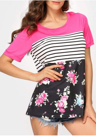 Floral Striped Splicing Short Sleeve T-Shirt