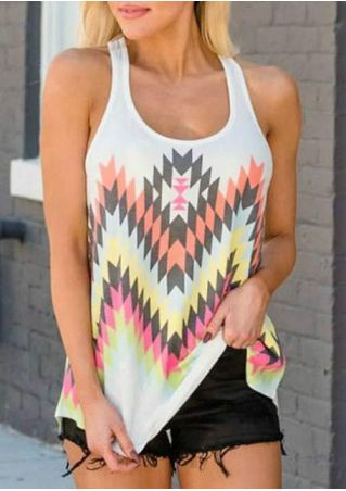 Argyle Printed O-Neck Tank