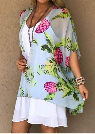 Pineapple Leaf Batwing Sleeve Cardigan without Necklace