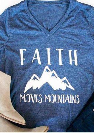 Faith Moves Mountains V-Neck T-Shirt