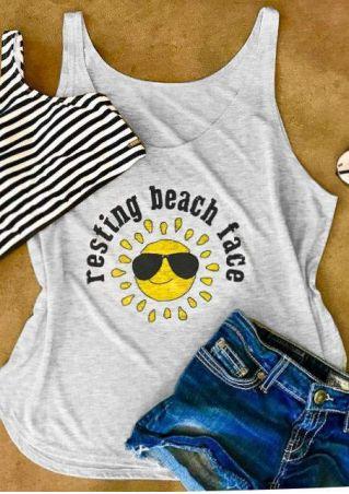 Resting Beach Face Sun Tank