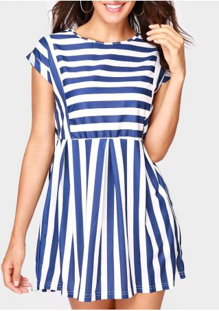 Striped Pocket Short Sleeve Mini Dress