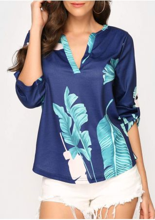 Leaf Tab-Sleeve V-Neck Blouse