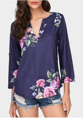 Floral Tab-Sleeve V-Neck Blouse