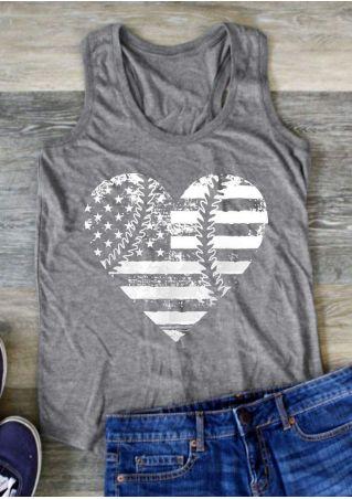 American Flag Heart Baseball Tank