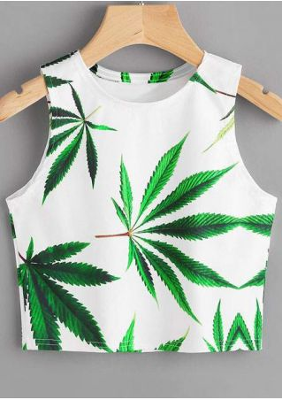 Leaf Printed O-Neck Tank