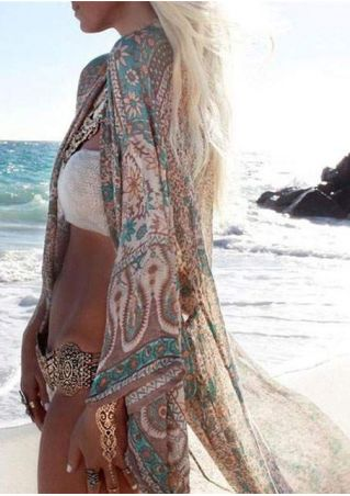 Floral Long Sleeve Kimono Cardigan without Necklace
