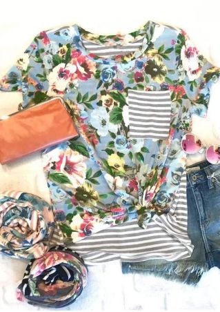 Floral Striped Pocket O-Neck T-Shirt