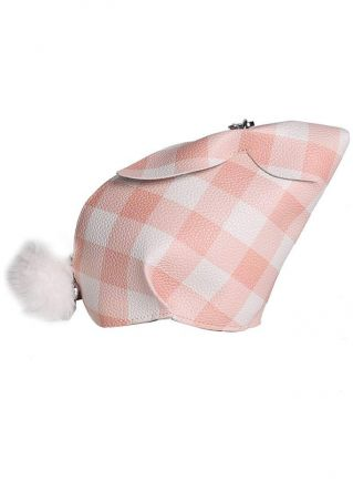 Plaid Pompon Bunny Shaped Crossbody Bag