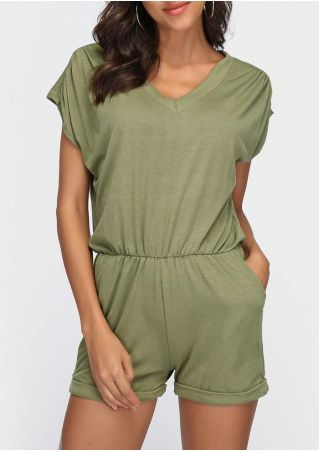 Solid Pocket V-Neck Casual Romper