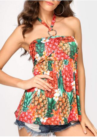 Floral Pineapple Circle Wrap Halter Blouse