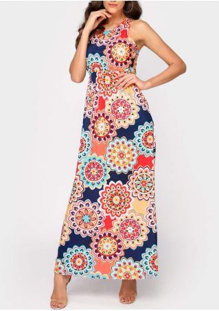 Floral Sleeveless O-Neck Maxi Dress