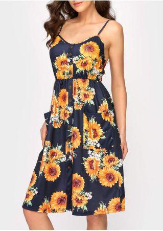Floral Spaghetti Strap Casual Dress