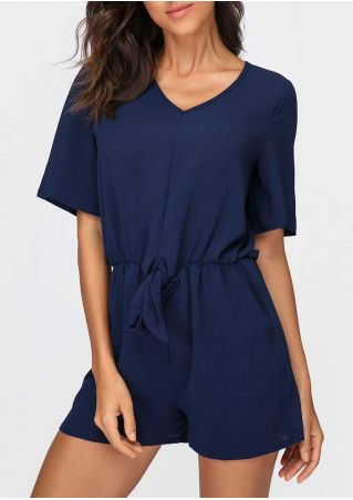 Solid Tie Hollow Out Pocket Romper