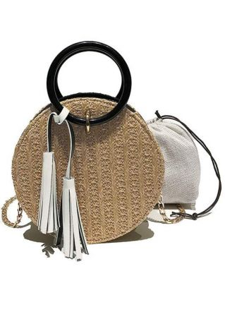 Tassel Chain Straw Handbag with Drawstring Bag