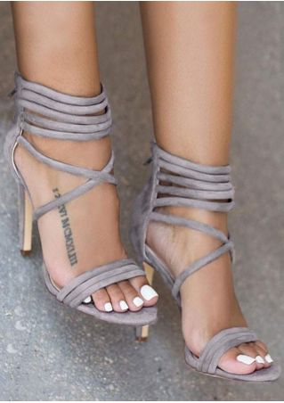 Cross-Strap High Heeled Sandals