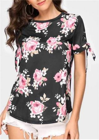 Floral Tie Short Sleeve Blouse