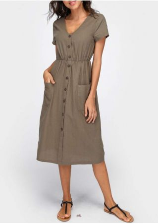 Solid Button Pocket Casual Dress