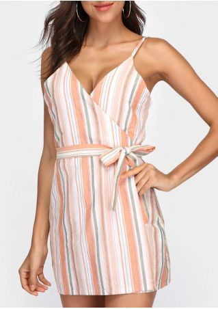 Striped Wrap Spaghetti Strap Mini Dress