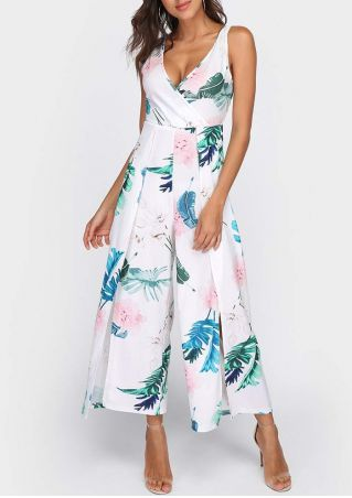 Leaf Wrap Slit Tie Jumpsuit