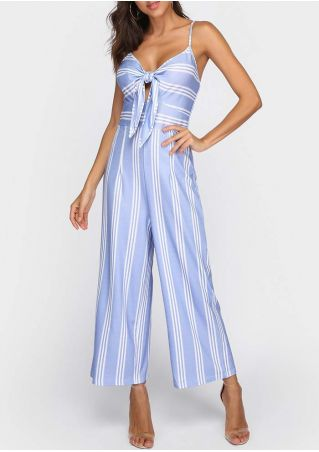 Striped Tie Adjustable Strap Jumpsuit