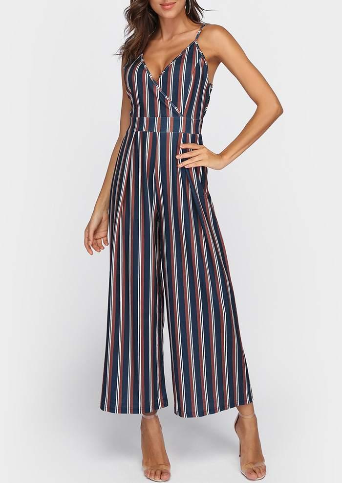 a628c44b45c2 Striped Wrap Tie Adjustable Strap Jumpsuit - Bellelily
