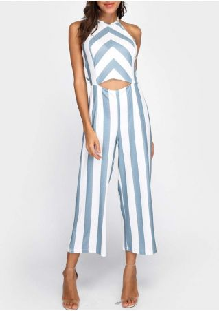 Striped Cut Out Halter Jumpsuit