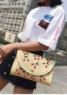 Cherry Embroidery Straw  Crossbody Bag