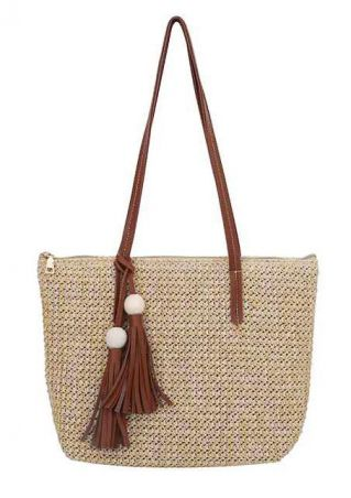 Straw Tassel Zipper Handbag Shoulder Bag
