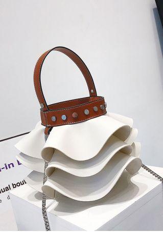 PU Layered Flouncing Chain Handbag