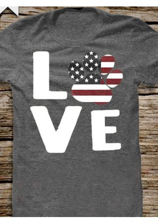 Love American Flag Paw T-Shirt
