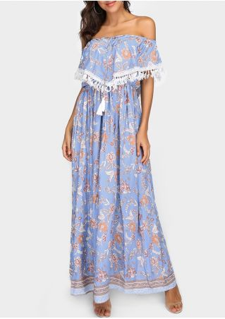Floral Tassel Splicing Layered Off Shoulder Maxi Dress