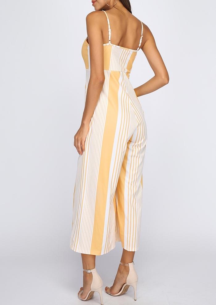 b927e4b06e58 Striped Tie Spaghetti Strap Jumpsuit - Bellelily