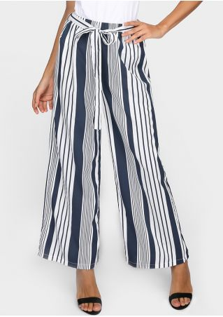 Striped Wide Leg Pants with Belt