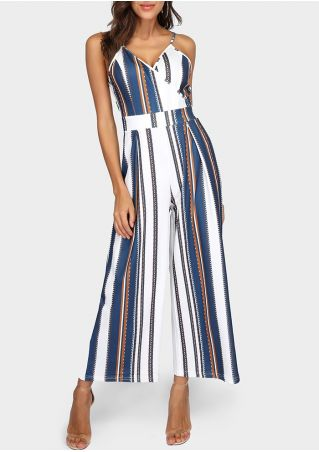 Striped Wrap Tie Adjustable Strap Jumpsuit