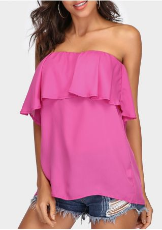 Solid Flouncing Layered Strapless Blouse