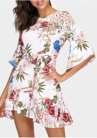 Floral Ruffled Flare Sleeve Mini Dress
