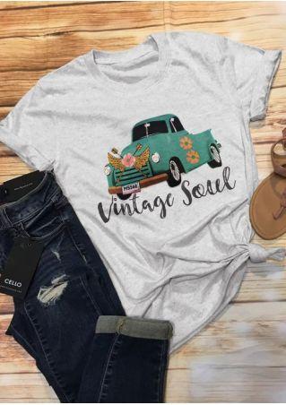 Floral Car Vintage Soul T-Shirt