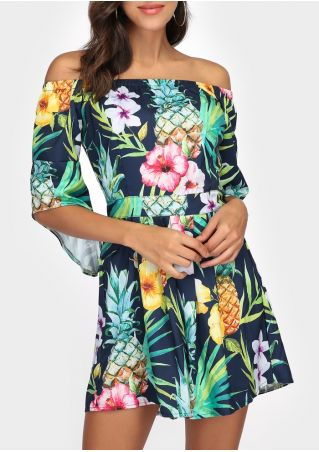 Floral Pineapple Off Shoulder Romper