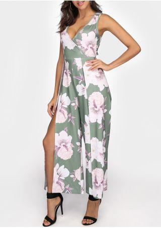 Floral Wrap Tie Slit Sleeveless Jumpsuit