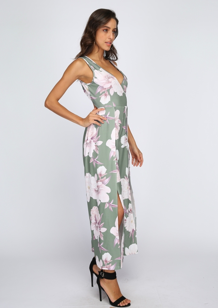 a61b636ea693 Floral Wrap Tie Slit Sleeveless Jumpsuit - Bellelily