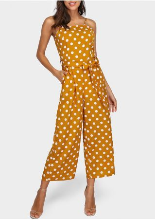 Polka Dot Spaghetti Strap Jumpsuit with Belt