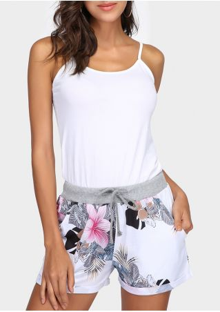 Floral Splicing Pocket Drawstring Shorts