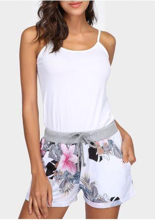 Floral Splicing Pocket Drawstring Shorts