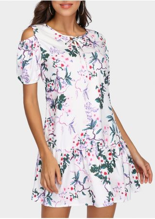 Floral Tie Cold Shoulder Mini Dress